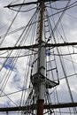 Mast and crows nest on a vintage tall sailing ship Royalty Free Stock Photo