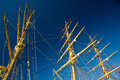 Mast on an old wooden sail ship Stock Image