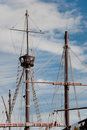 Mast of the replica of a Columbus's ship Stock Photos