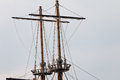 Mast and rigging on sailing ship with spars old Stock Photos