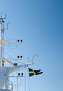 Mast of a ship with flag sweden Stock Photography