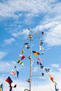 Mast with signal flags Royalty Free Stock Photo