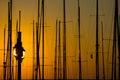 Mast at sunset in the port of tel aviv Stock Image