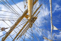 Mast of tall ship in a sunny day Stock Image