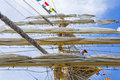 Mast of tall ship in a sunny day Royalty Free Stock Images