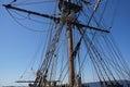 Mast yardarms rigging and sails of tall ship near kirkland washington Stock Photography