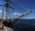 Mast yardarms rigging and sails of tall ship near kirkland washington Royalty Free Stock Photo