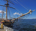 Mast yardarms rigging and sails of tall ship near kirkland washington Stock Photos