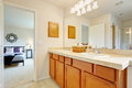 Master bedroom with bathroom. Royalty Free Stock Photo