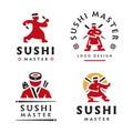Master Sushi Logo illustration on white background Royalty Free Stock Photo