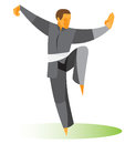 Master Tai Chi demonstrates a difficult pose