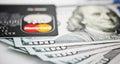Mastercard debit card over dollar bills yekataerinburg russia apr Stock Image