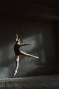 Masterful ballet dancer showing her abilities in the air