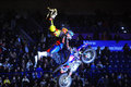 Masters of dirt kombank arena belgrade serbia april riders perform a jump with their bikes during show in belgrade serbia on april Royalty Free Stock Images