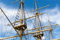 Masts of a big old sailing ship and rigging in front blue sky Stock Images