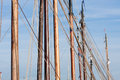 Masts rigging old wooden sailing ships Royalty Free Stock Photo