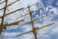 Masts and rigging of a sailing ship Royalty Free Stock Photo
