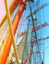 Masts of sail ship used gradient fone on the photo Stock Photo