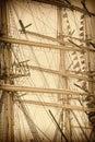 Masts of sailboats retro stylized image Stock Images