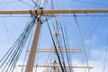 Masts of a sailingboat and lines from an old medieval sailingship Stock Images