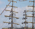 Masts with sails riga latvia jul sailors set on of ship arrives in latvia during the tall ships races annual regatta shown on jul Stock Image