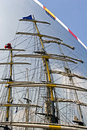 Masts of tall sailing ships Royalty Free Stock Photo