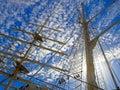 Masts of tallship barque named tenacious Stock Photo