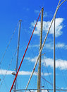 Masts yacht with sky backgound Royalty Free Stock Photos