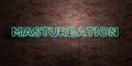 MASTURBATION - fluorescent Neon tube Sign on brickwork - Front view - 3D rendered royalty free stock picture