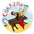 Matador being tossed in the air by an angry bull spanish with his red cape snorting on a circular icon or emblem with word Royalty Free Stock Photography