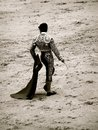 The matador stance of a spanish during a bullfight in madrid spain Stock Photos