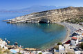 Matala beach at Crete island Stock Image