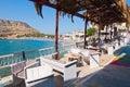 Matala crete july local restaurant in matala village on july on the island of crete greece matala is a village locat located km Stock Image
