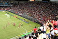 Match de football dans le stade de Hong Kong Images libres de droits