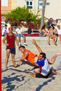 Match de la 19ème ligue du handball de plage, Cadix Photos libres de droits