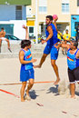 Match de la 19ème ligue du handball de plage, Cadix Photo libre de droits