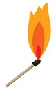 Match with flame danger on the white background Royalty Free Stock Image