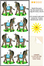 Match mirrored images picture riddle - donkeys Stock Photos