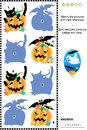 Match pictures to their shadows halloween riddle themed visual puzzle the of pumpkins bats and black cats answer included Royalty Free Stock Image