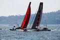Match race regatta luna rossa and new zeland in a in the america s cup world series of naples in italy Stock Image