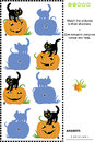 Match to shadow game pumpkin and cat halloween themed visual puzzle or picture riddle the pictures of pumpkins black cats their Stock Photos