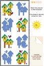 Match to shadow visual puzzle - birdhouses Stock Photo