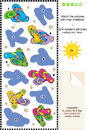 Match to shadow visual puzzle flip flops on the or picture riddle suitable both for kids and adults pictures of colorful their Stock Photography