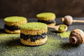 Matcha cakes with poppy seeds Royalty Free Stock Photo