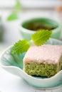 Matcha green tea cakes with white chocolate glaze Royalty Free Stock Photo