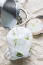 Matcha green tea cold iced brewed serve in a glass cup Stock Images
