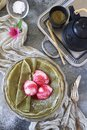 Matcha green tea pancakes blinis and balls of fruit ice cream Royalty Free Stock Photo