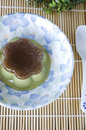 Matcha green tea pudding plate spoon Stock Images