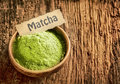 Matcha powder masde from ground green tea used as a traditional japanese beverage and as a flavouring and colouring in cooking Royalty Free Stock Image