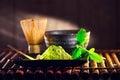 Matcha powder. Organic green matcha tea ceremony Royalty Free Stock Photo